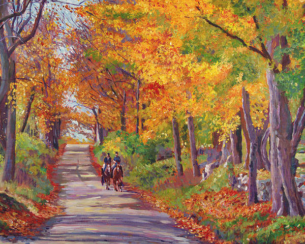 Landscape Poster featuring the painting Autumn Ride by David Lloyd Glover