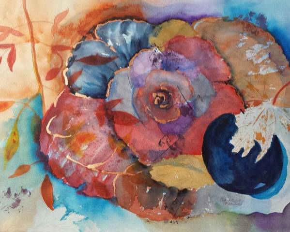 Autumn Poster featuring the painting Autumn Rose by Elaine Frances Moriarty