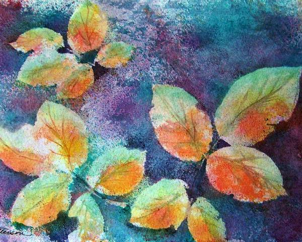 Rose Poster featuring the painting Autumn Rose Leaves by Sherri Patterson
