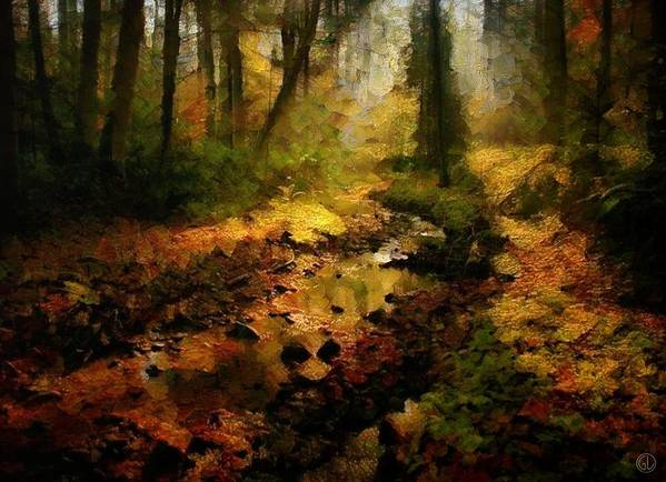 Landscape Poster featuring the digital art Autumn Sunrays by Gun Legler