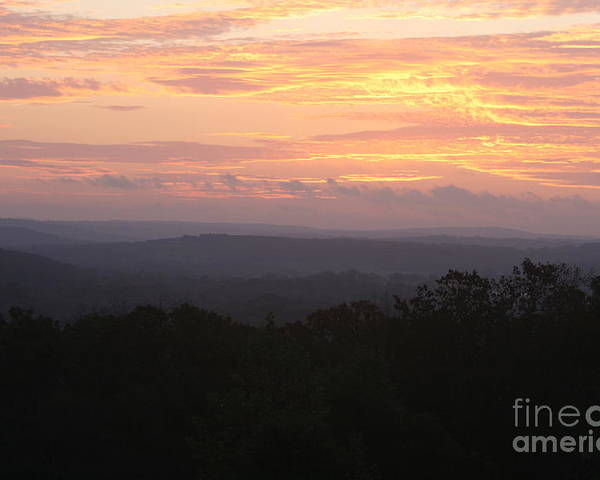Sunrise Poster featuring the photograph Autumn Sunrise Over The Ozarks by Nadine Rippelmeyer