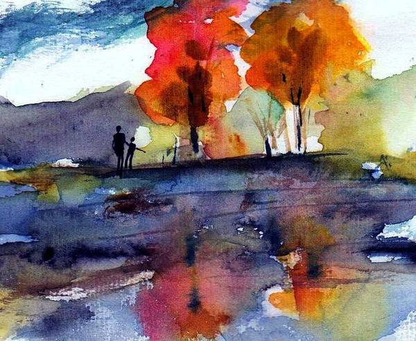 Fall Poster featuring the painting Autumn Walk by Anne Duke