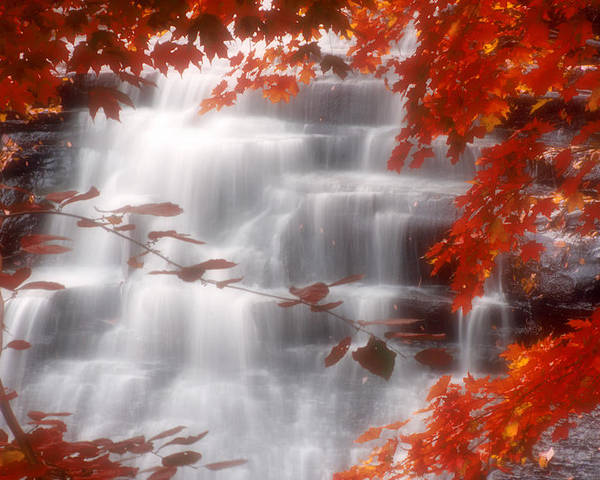 Autumn Poster featuring the photograph Autumn Waterfall I by Kenneth Krolikowski