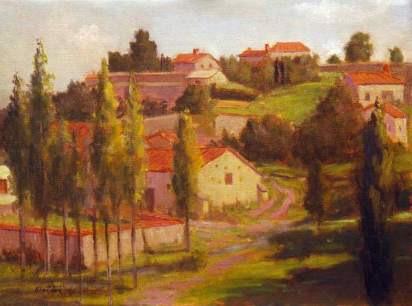 Location Landscape Poster featuring the painting Availles Touarsailles France Loire Valley by David Olander