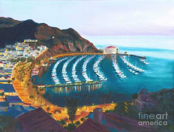 Avalon Poster featuring the painting Avalon At Sunrise by Nicolas Nomicos