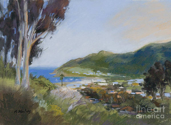 Catalina Poster featuring the painting Avalon Harbor - Taking The High Road Catalina Island Oil Painting by Karen Winters