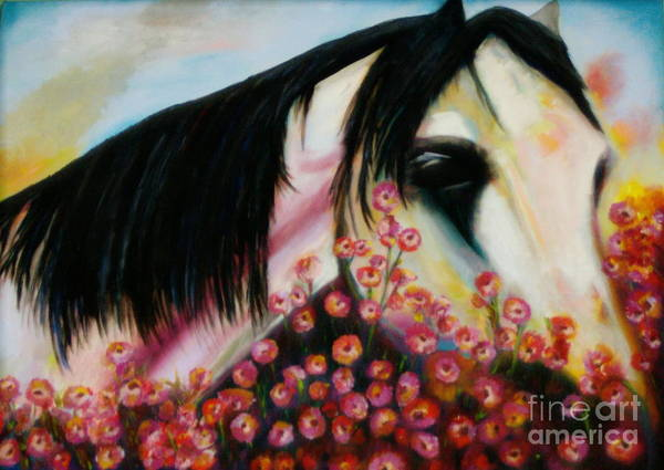 Horse Poster featuring the painting Avalon's Rose by Sidra Myers