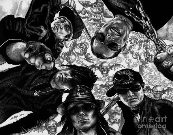 Avenged Sevenfold Poster featuring the drawing Avenged Sevenfold by Kathleen Kelly Thompson