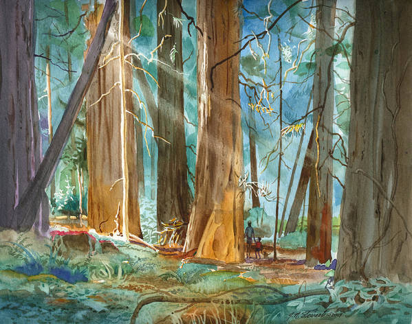 Redwoods Poster featuring the painting Avenue Of The Giants by John Norman Stewart