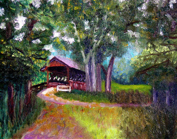 Covered Bridge Poster featuring the painting Avon Covered Bridge by Stan Hamilton