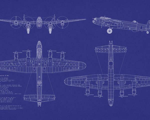 Avro lancaster bomber blueprint poster by michael tompsett avro lancaster bomber poster featuring the digital art avro lancaster bomber blueprint by michael tompsett malvernweather Choice Image