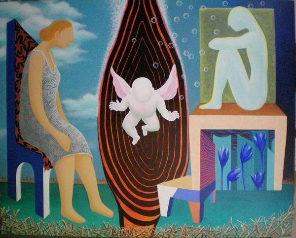 Figurative Poster featuring the painting Await by Raju Bose