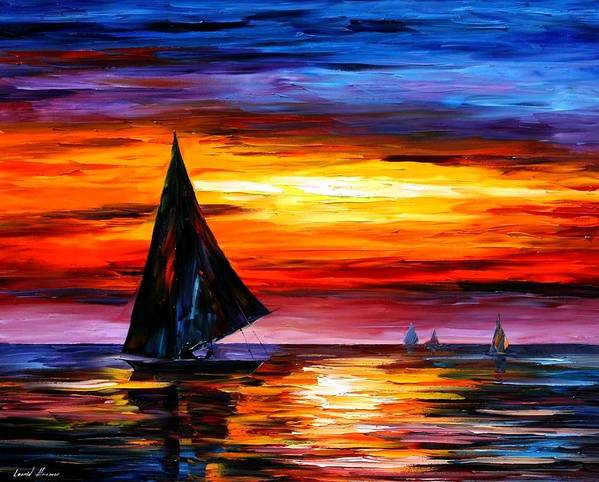 Afremov Poster featuring the painting Away From The Sunset by Leonid Afremov