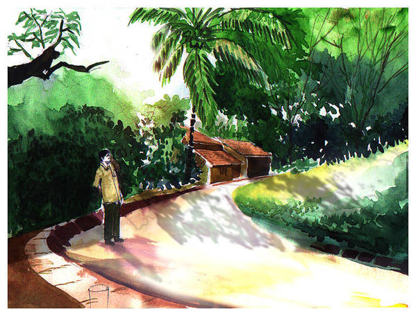 Water Color Watercolor Landscape Greenery Poster featuring the painting Awe by Anil Nene