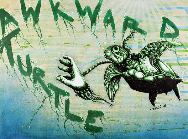 Sea Turtle Poster featuring the drawing Awkward Turtle by Tai Taeoalii
