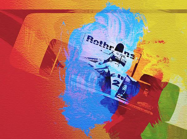 Ayrton Senna Poster featuring the painting Ayrton Senna by Naxart Studio
