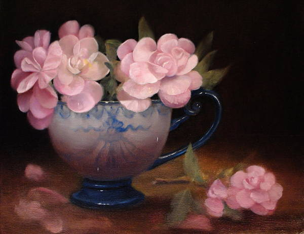 Flower Still Life Poster featuring the painting Azaleas In A Cup by Loretta Fasan