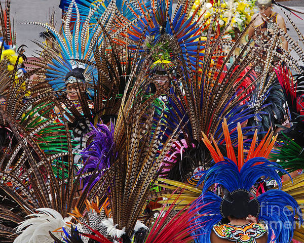 Aztec Poster featuring the photograph Aztec Feather Dancers - Mexico by Craig Lovell