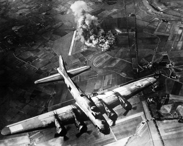B 17 Poster featuring the photograph B-17 Bomber Over Germany by War Is Hell Store