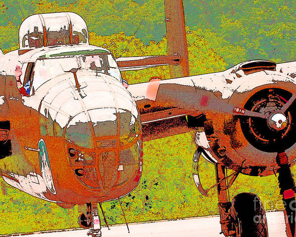 B-25 Red B Poster featuring the digital art B-25 Red B by Chris Taggart