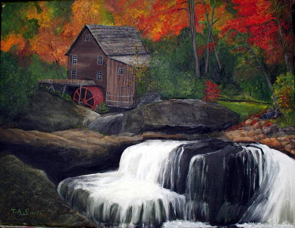 Grist Mill Poster featuring the painting Babcock Mill by Timothy Smith
