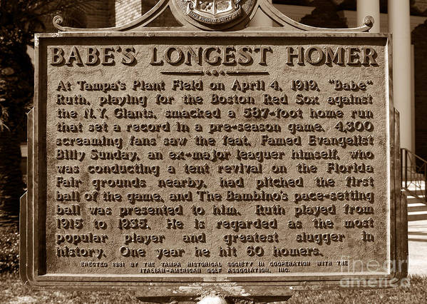 Fine Art Photography Poster featuring the photograph Babes Longest Homer by David Lee Thompson