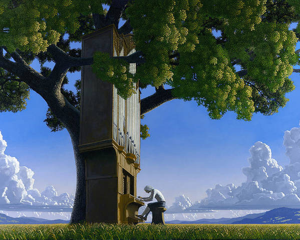 Landscape Poster featuring the painting Bach In Heaven by Jonathan Day