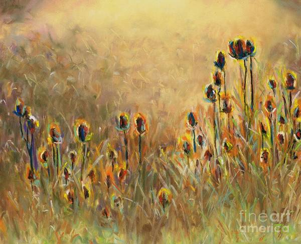 Thistle Poster featuring the painting Backlit Thistle by Frances Marino