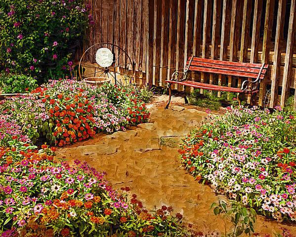 Pink Flower Poster featuring the digital art Backyard Garden by Paul Bartoszek