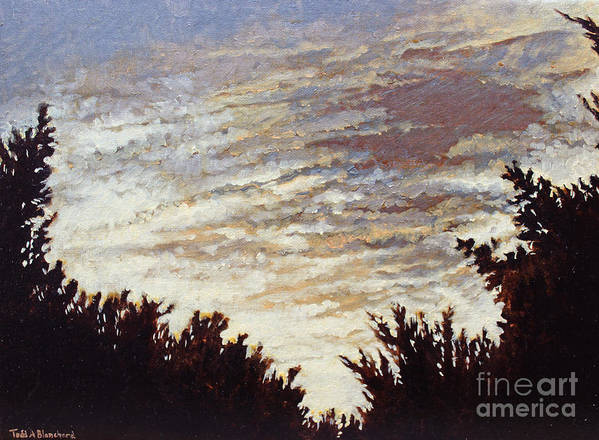 Landscape Poster featuring the painting Backyard Sunset by Todd Blanchard