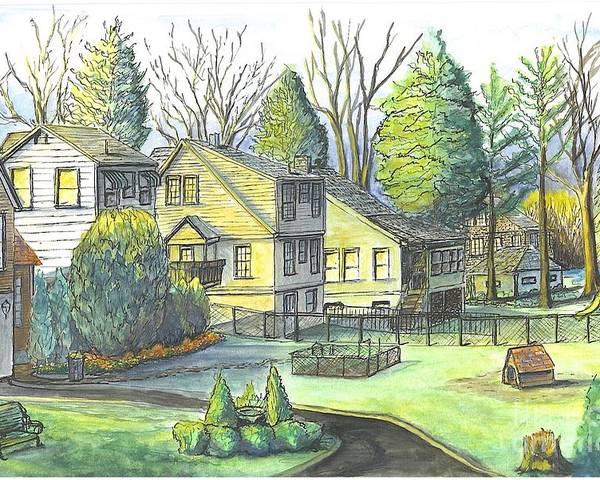 Hometown Poster featuring the painting Hometown Backyard View by Carol Wisniewski