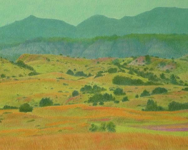 North Dakota Poster featuring the pastel Badlands Grandeur by Cris Fulton