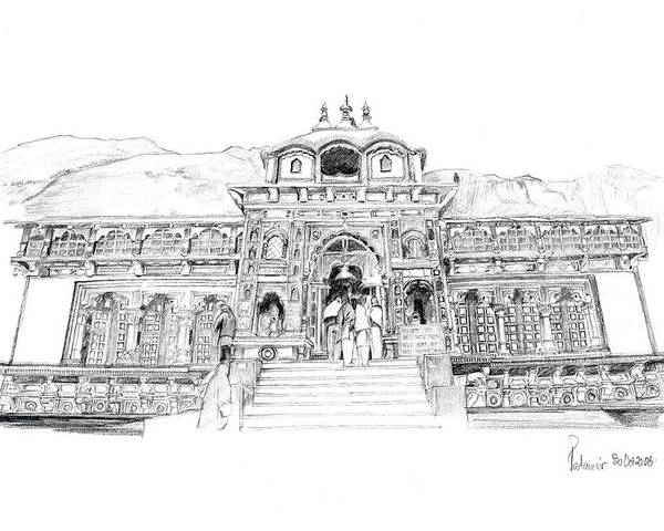 Landscape Poster featuring the drawing Badrinath by Padamvir Singh