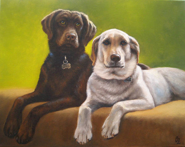 Dog Poster featuring the painting Bailey And Hershey by Oksana Zotkina