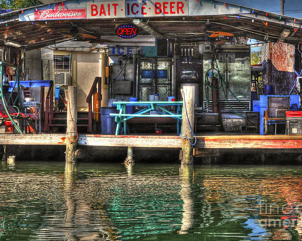 Bait Poster featuring the photograph Bait Ice Beer Shop On Bay by Dan Friend