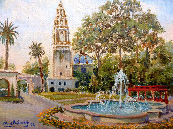 Balboa Park Poster featuring the painting Balboa Park Tower by Miguel A Chavez