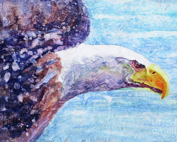 Bald Eagle In Flight Poster featuring the painting Bald Eagle Portrait 2 by Bonnie Rinier