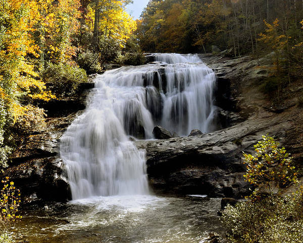 Autumn Poster featuring the photograph Bald River Falls In Autumn by Darrell Young