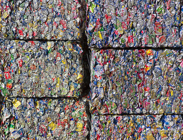 Aluminum Poster featuring the photograph Bales Of Aluminum Cans by David Buffington