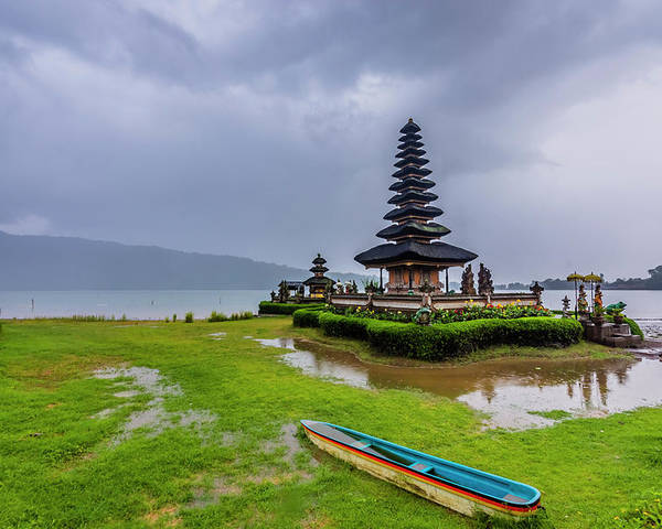 Ancient Poster featuring the photograph Bali Lake Temple by Jijo George
