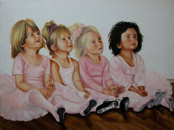 Child Poster featuring the painting Ballerina Girls by Joni McPherson