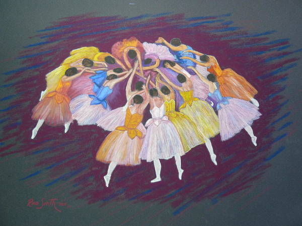 Ballet Poster featuring the pastel Ballet Dancers by Rae Smith PSC
