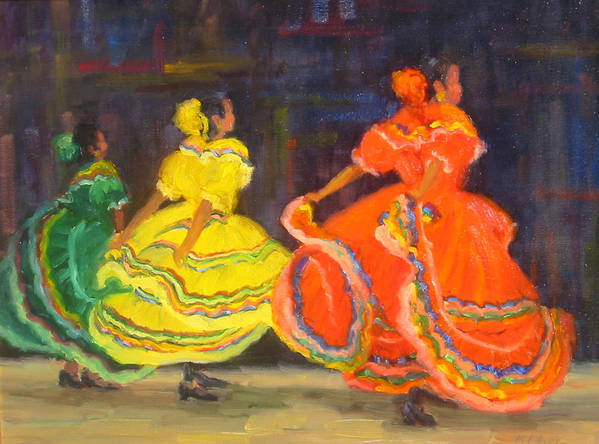 Figure Poster featuring the painting Ballet Folklorico by Bunny Oliver