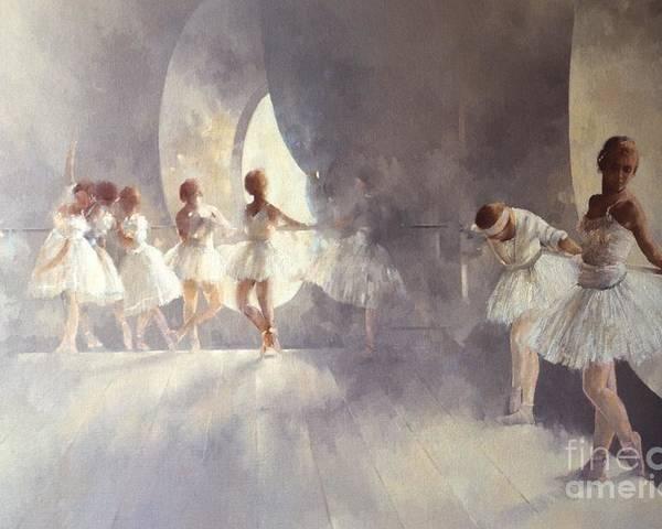Ballerina; Ballet; Girls; Girl; Female; Dance; Dancing; Dancers; Interior; Tutu; Leotard; Ballet Studio Poster featuring the painting Ballet Studio by Peter Miller
