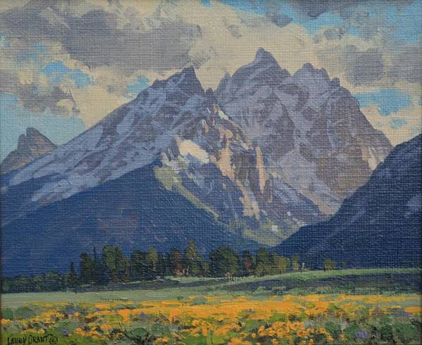 Landscape Poster featuring the painting Balsamroot In Bloom by Lanny Grant