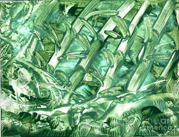 Abstract Poster featuring the painting Bamboo Forest by Heather Hennick
