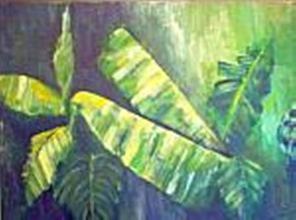 Banana Leaf Poster featuring the painting Banan Leaf by Carol P Kingsley