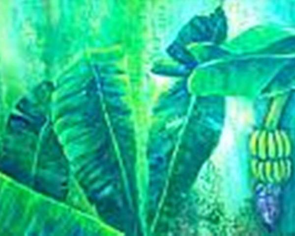 Poster featuring the painting Banan Leaves 5 by Carol P Kingsley