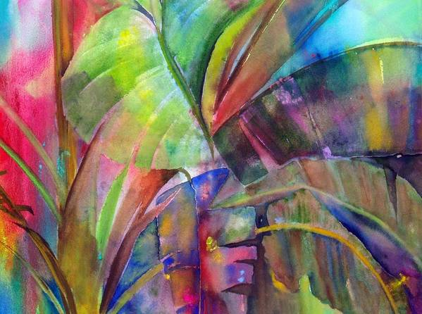 Tropical Tree/plant Poster featuring the painting Banana Leaves IIi by Maritza Bermudez