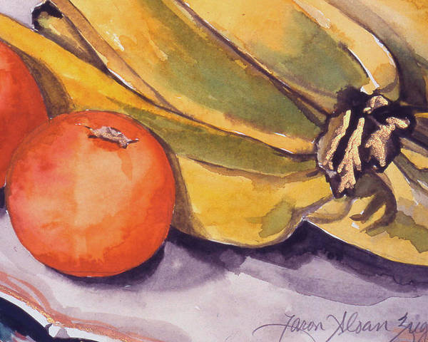 Still-life Poster featuring the painting Bananas And Blood Oranges Still-life by Caron Sloan Zuger